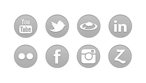 gri sosyal ağ ikon seti